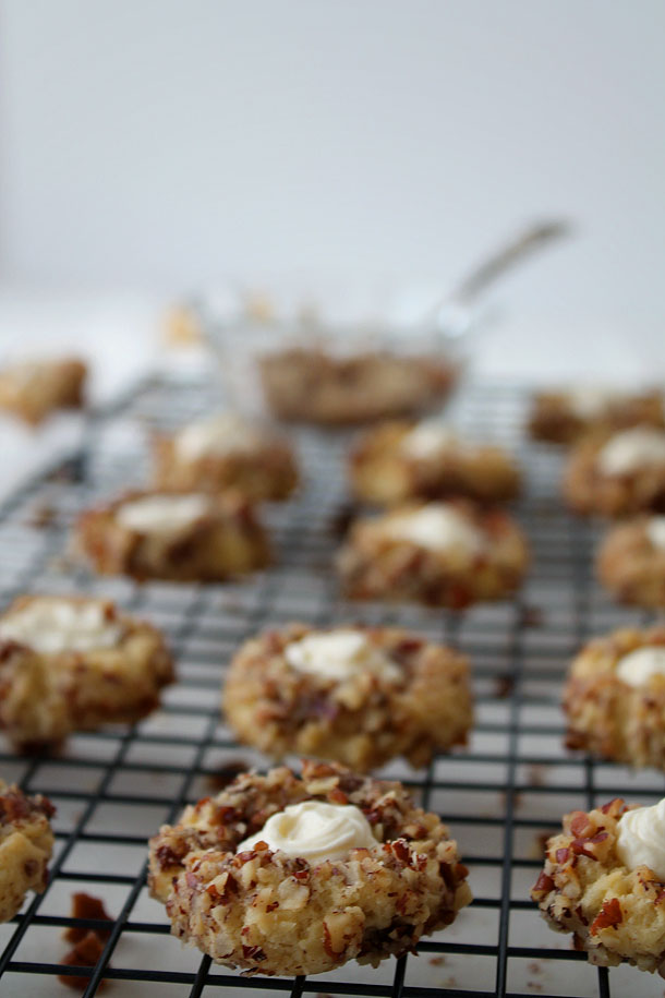 Pecan Thumbprint Cookies With Cream Cheese Frosting (Paleo, Gluten Free, Grain Free)