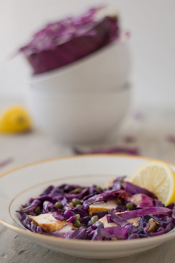 Sauteed Caper and Garlic Cabbage with Lemon