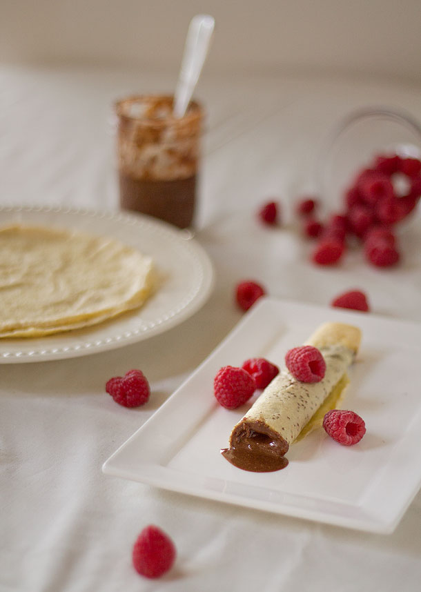Raw Cacao Roasted Hazelnut Butter Stuffed Crepes (Paleo, Grain Free, Gluten Free)