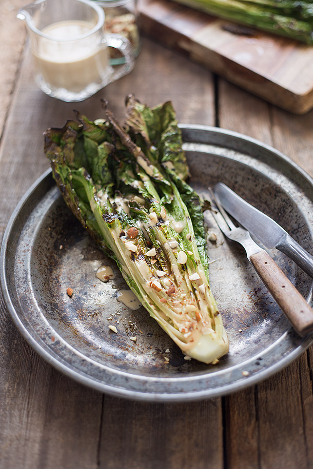 Grilled Romaine with Toasted Almonds and Caesar Dressing