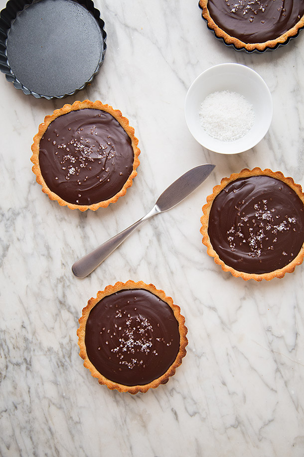 Salted Mexican Chocolate Ganache Tarts