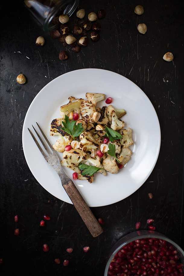 Seared Cauliflower with Hazelnuts and Pomegranate from Slim Palate