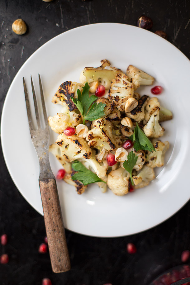Seared Cauliflower with Hazelnuts and Pomegranate via Slim Palate
