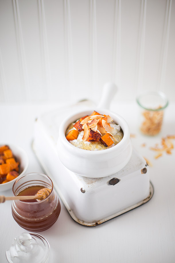 Coconut Chia Pudding with Roasted Butternut and Honey