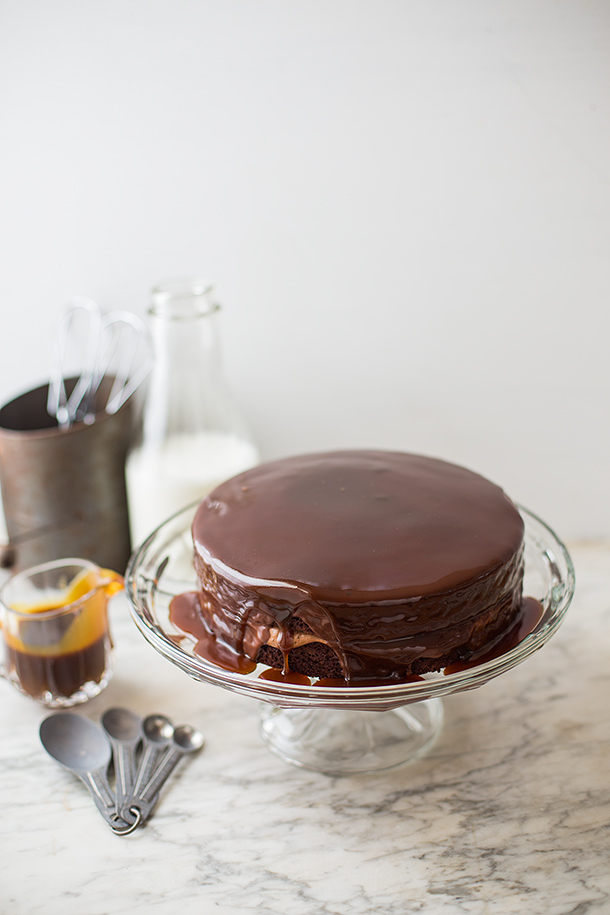 Salted Caramel Drenched Coffee-Double Chocolate Cake And A Celebration