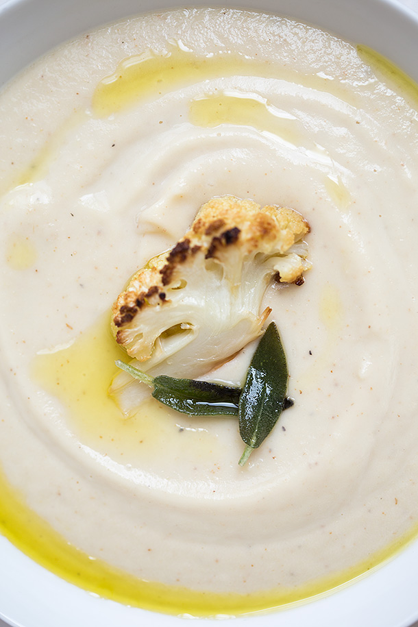 Roasted Cauliflower Soup With Fried Sage | Slim Palate