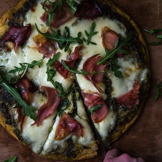 Paleo Pesto and Prosciutto Pizza