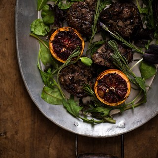 Lavender Lamb Loin Chops with Grilled Blood Oranges