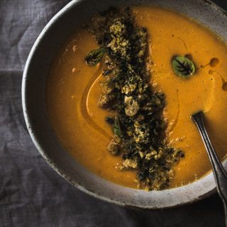 Coconut Carrot Soup With Pork Skin, Kale, and Ancho oil