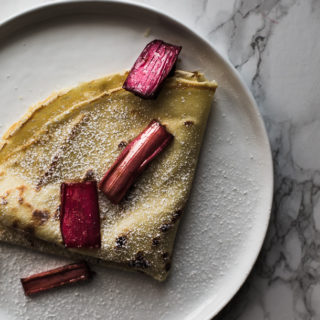 Crepes with Vanilla Bean Roasted Rhubarb